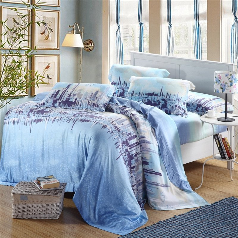 Sky Blue and Navy Cityscape Skyline Scene City Chic Fashion and Luxury Abstract Design Soft 100% Tencel Full, Queen Size Bedding Sets