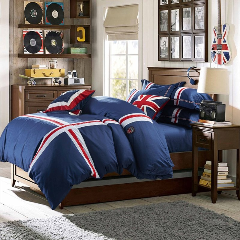 Solid Color Navy Blue with Red and White Stripe Print England Style Simply Chic Boys 100% Cotton Damask Full, Queen Size Bedding Sets