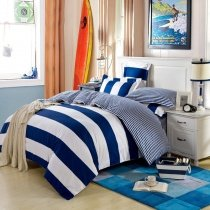 Navy Blue and White Boys Rugby Stripe Print Modern Chic Cool Color 100% Cotton Damask Full, Queen Size Bedding Sets