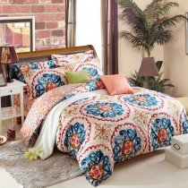 Rust Orange Blue Yellow and White Tribal BOHO Style Exotic Gypsy Themed Indian Pattern Multi-color Circle Print Full, Queen Size Bedding Sets