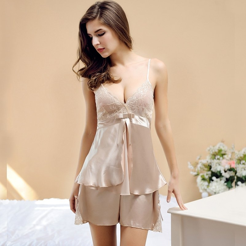Champagne Soft Imitated Silk Sexy Seductive Lace Bowknot Vogue Contracted Noble V-neck Condole Belt Shirt Shorts Free Size Women Pajamas