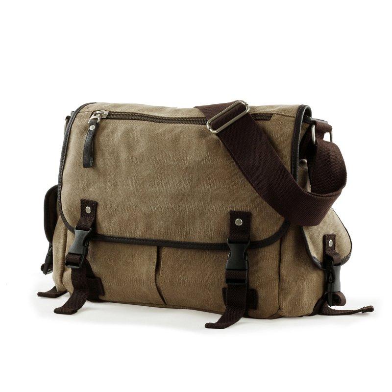Khaki Brown Canvas Luxury Men Messenger Bag Vintage Korean Preppy Style Crossbody School Bag Take Cover Zipper Medium Single Shoulder Bag