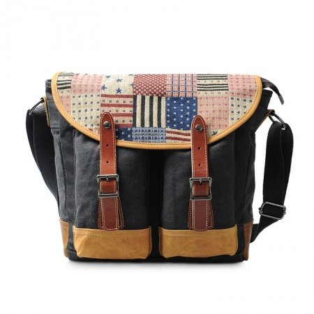 Black Pink and Beige Canvas American Flag the Stars and the Stripes Print Messenger Bag Casual American Style Personalized Crossbody Bag