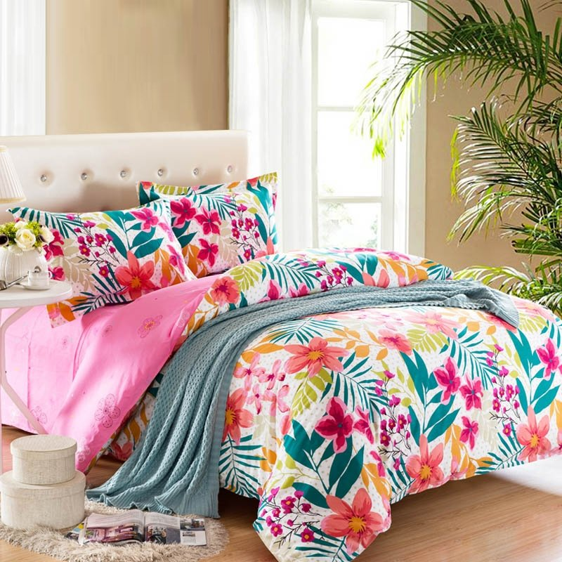 hawaiian flower bedding pink teal and white bright colorful tropical flower 856
