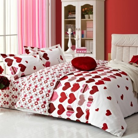 Maroon and White Victorian Heart Print Honey Love Fashion Luxury Abstract Design Unique 100% Cotton Damask Full, Queen Size Bedding Sets