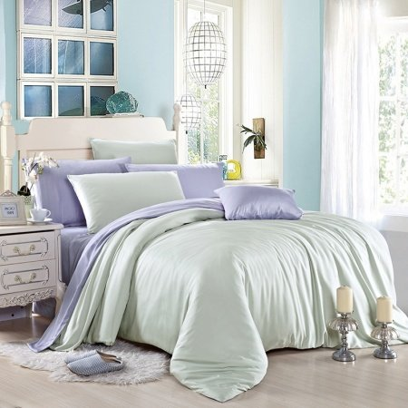 Plain Colored Magic Mint and Light Blue Simply Vogue Noble Excellence Luxury Unique Adults 100% Tencel Full, Queen Size Bedding Sets