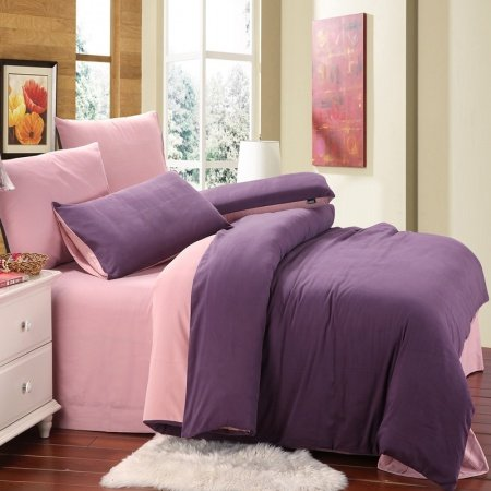 Deep Purple and Pink Plain Colored Fashion Simply Chic Noble Excellence Percale Pure Cotton Girls Full, Queen Size Bedding Sets