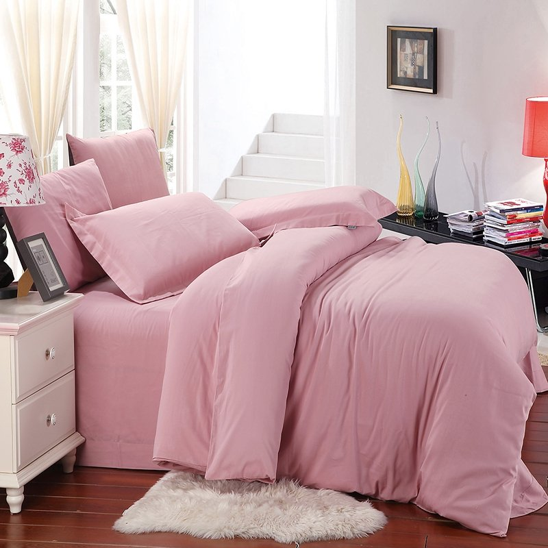 Plain Pink Colored Simply Noble Excellence Fashion Warm Color Personalized Brushed All Cotton Youth Girls Full, Queen Size Bedding Sets