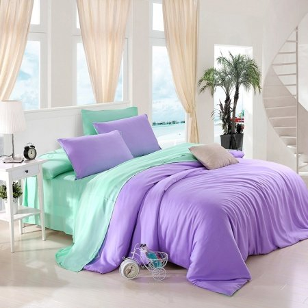 Plain Colored Violet and Bright Mint Luxury Vogue Noble Cute Style Unique Young Girls Microfiber Tencel Percale Full, Queen Size Bedding Sets