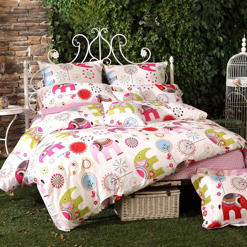 Lime Green Red and Pink Elephant Animal Print Little Girls Cute Girly Organic Cotton Twin, Full, Queen Size Bedding Sets