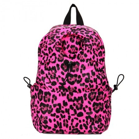 Black and Hot Pink Leopard Polyester Bucket-shaped Backpack Casual Korean Style Women Medium Waterproof 10 Inch Laptop Bag