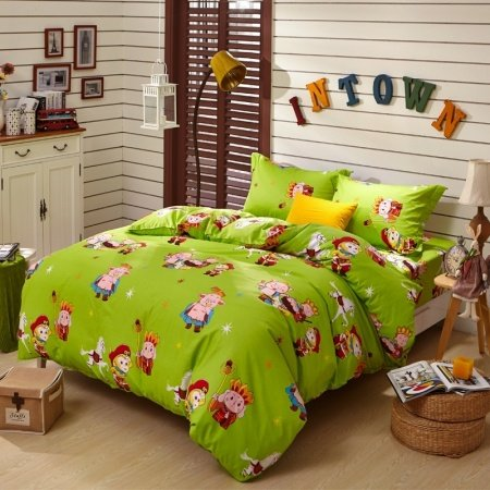Chartreuse Color Chinese Tale Journey to the West Anime Style Cartoon Themed 100% Cotton Twin, Full, Queen Size Bedding Sets for Kids