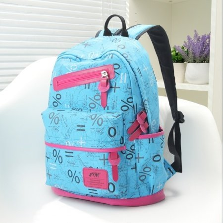 Aqua Blue Canvas with Hot Pink Leather Trim Monogrammed School Backpack Personalized Sewing Pattern Women Travel Bag