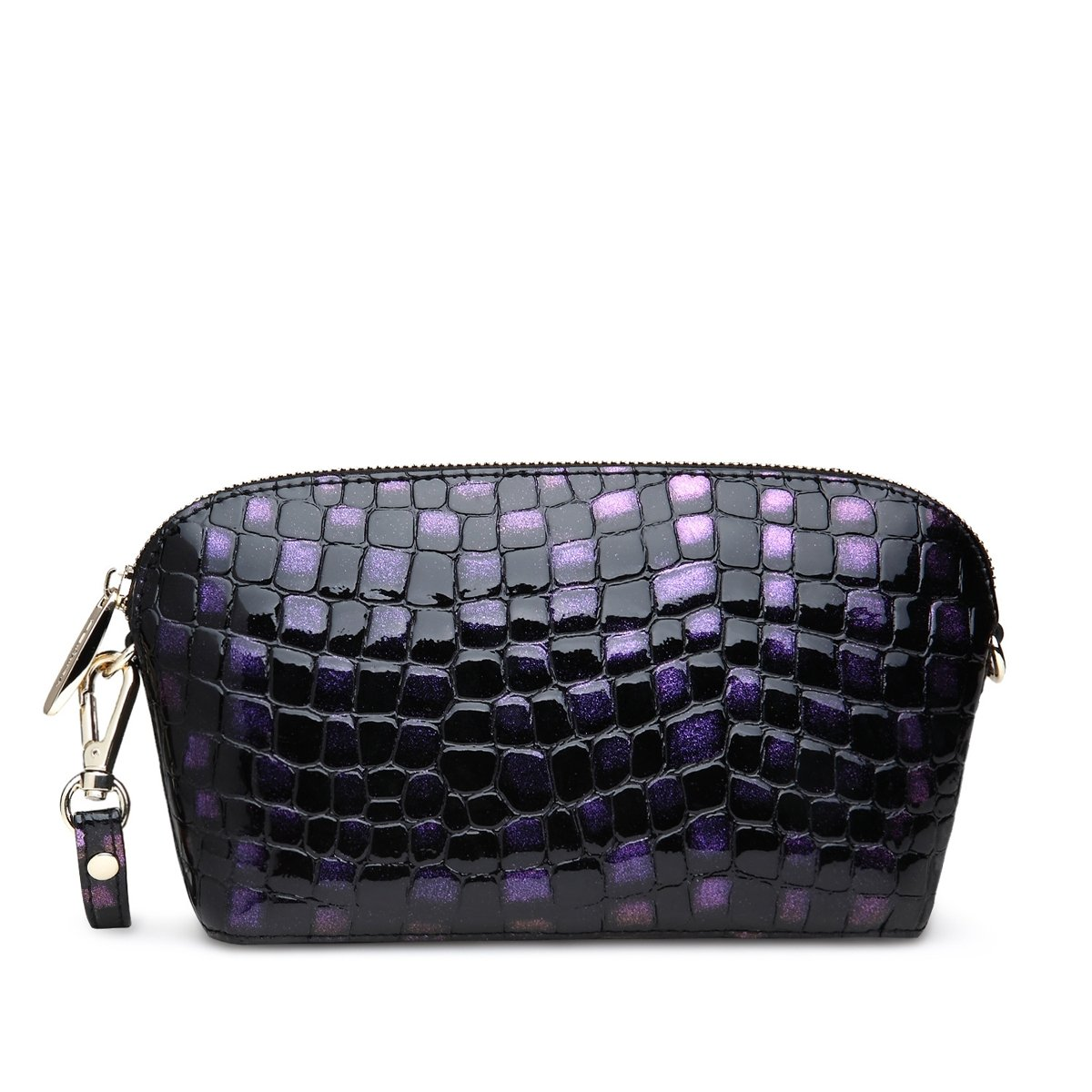 Black Purple Luxury Cowhide Genuine Leather Lady Evening Clutch Handle Bag Elegant Embossed Alligator Sea Shell Shoulder Bag