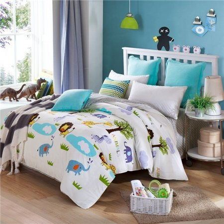 Light Blue Green and Yellow Forest Animal Print African Safari Themed 100% Cotton Twin, Full Size Bedding Sets for Child