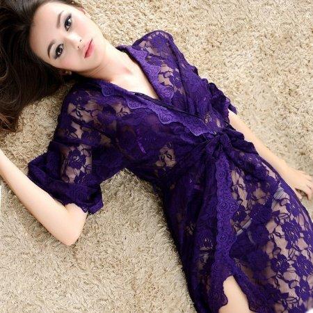 Purple Hollow Out Bud Silk Sexy Korean Style Spring Women Transparent Pajamas