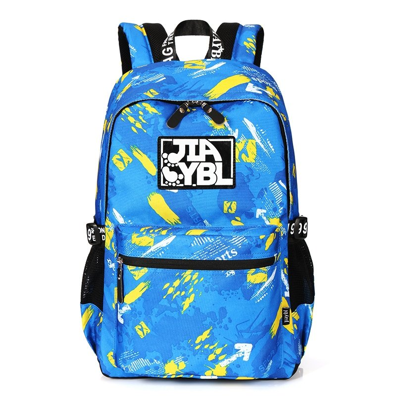 Stylish Oxford Preppy Style Junior School Backpack Blue Yellow Graffiti Durable Trend Zipper Casual Outdoor Sport Travel Bag