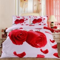 Red and White Girls Rose Print Romantic High Fashion Wedding Themed 100% Cotton Twin, Full Size Bedding Sets