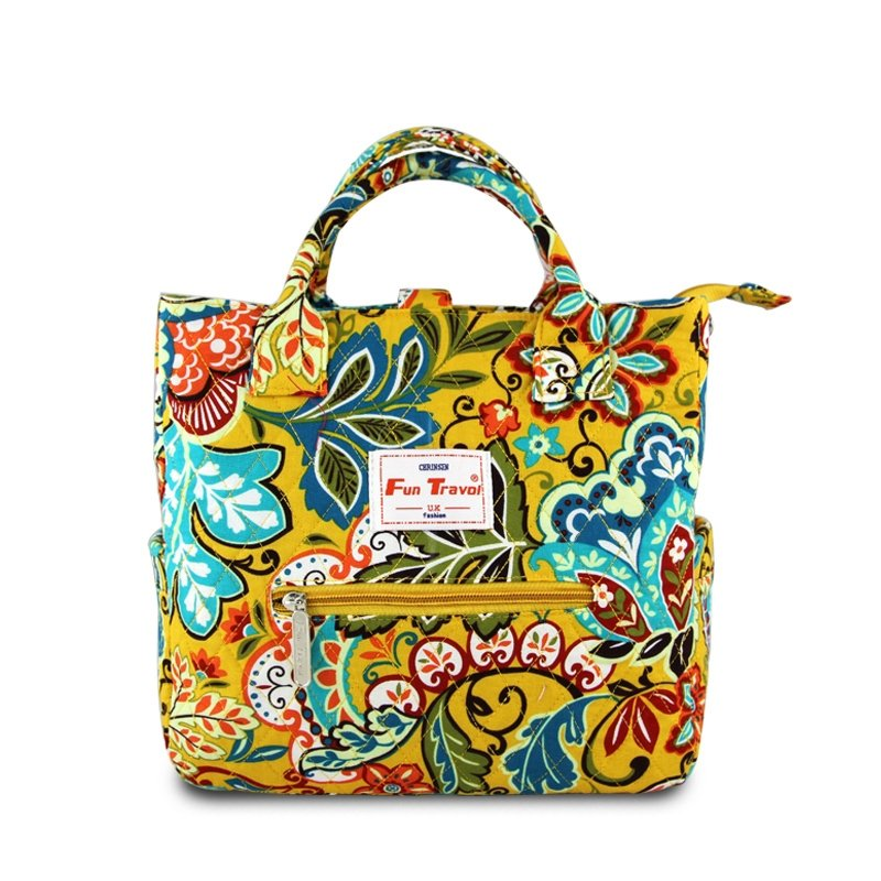 Personalized Canvas Vintage Women Studded Tote Bag Stylish Colorful Floral Print Western Style Gorgeous Zipper Flap Diamond Purse