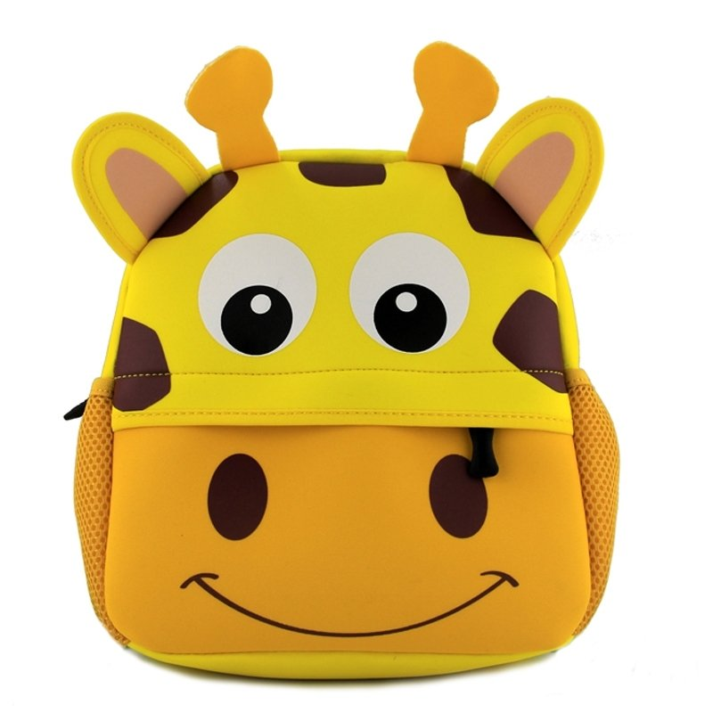 Personalized Cute Animal Giraffe Head-shaped Toddler Book Bag Goldenrod Yellow Durable Fashion Kids School Backpack for Girls Boys