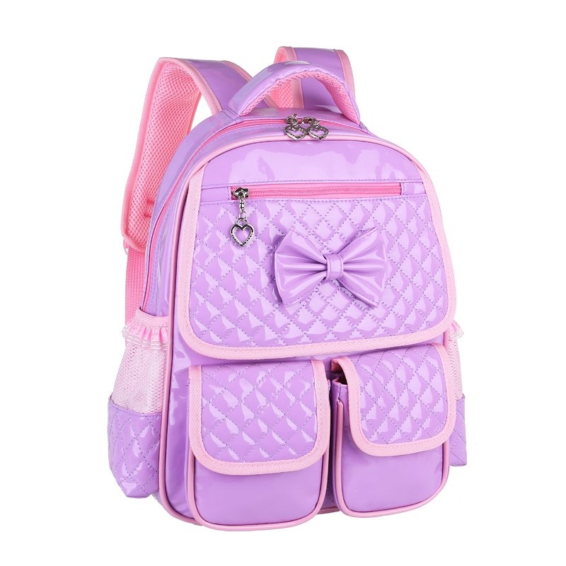 Embossed Lavender Purple Patent Leather Cute Bow Girls School Backpack Stylish Plaid Durable Sewing Pattern Preppy Book Bag