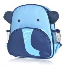 Personalized Elephant Face-shaped Toddler School Backpack Dark BLue Aqua Durable Nylon Stylish Animal Boys Preppy Book Bag