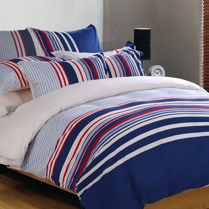 Boys Navy Blue Red And White Awning Stripe Print Masculine Style Traditional Reversible 100 Cotton Twin Full Queen Size Bedding Sets