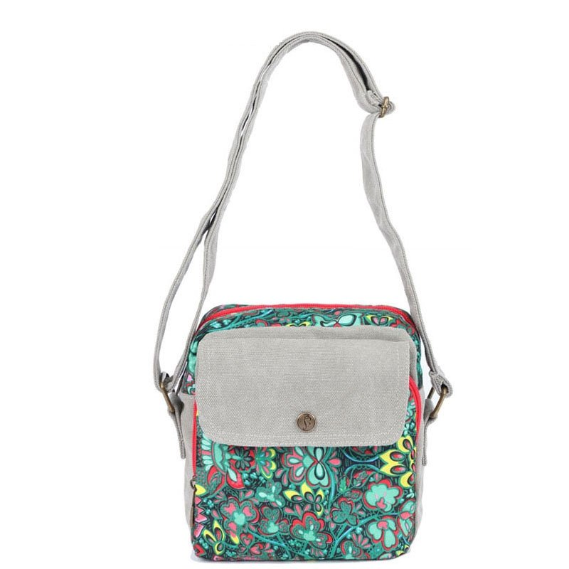 Durable Colorful Canvas Zipper Casual Girls Small Messenger Bag Stylish Vintage Bohemian Indian Style Floral Crossbody Shoulder Bag