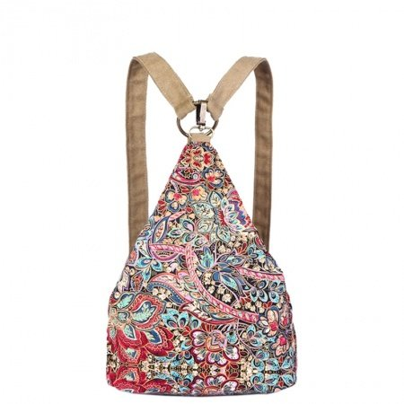 Gorgeous Durable Canvas Stylish Colorful Bohemian Vintage Western Floral Print Casual Hiking Cycling Travel Women Backpack