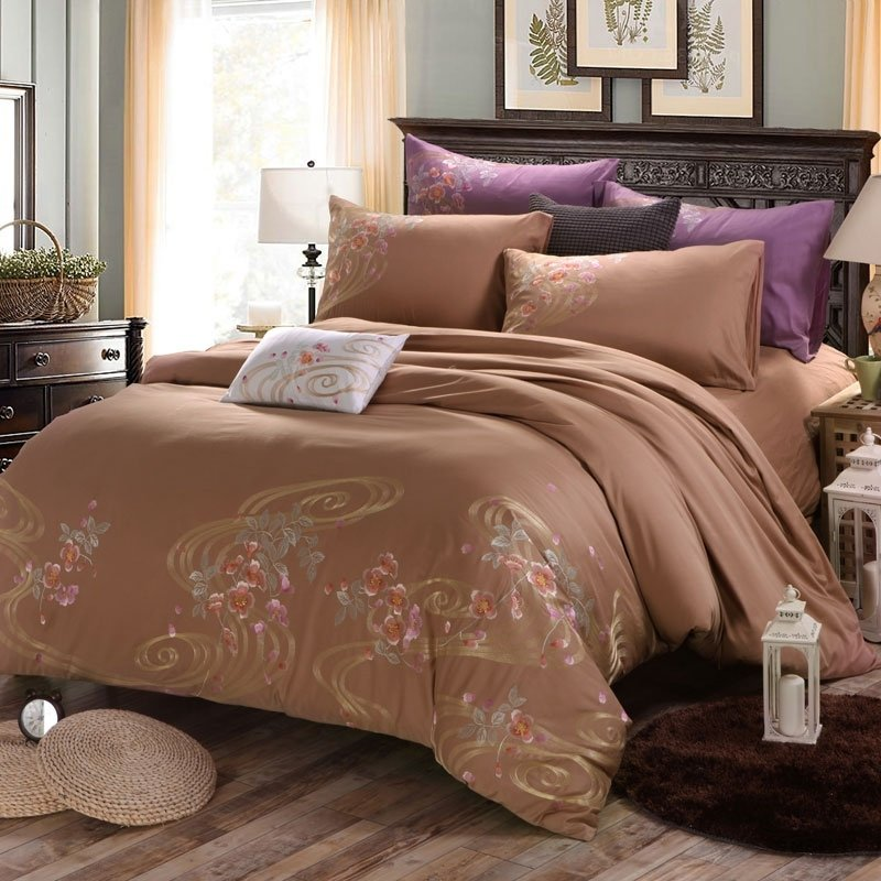 Brown Vintage Flower Print Scroll Pattern Old World Shabby Chic Rustic Cabin 100% Cotton Full, Queen Size Bedding Sets