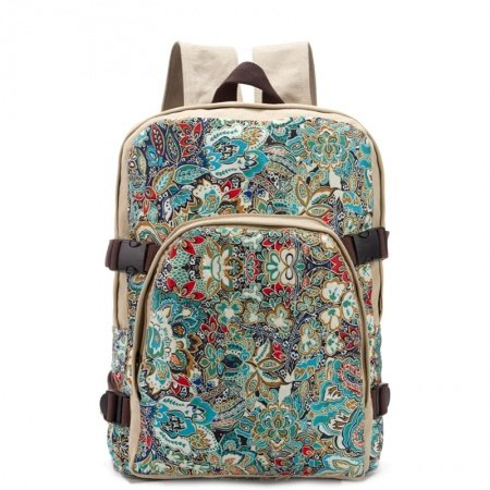 Blue White Red Canvas Durable Travel Backpack Personalized Bohemian Indian Floral Junior Preppy School Book Bag Large 16 Inch Laptop Bag