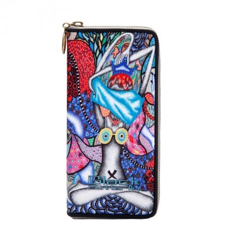 Personalized Cartoon Character Girls Long Clutch Wallet Bohemian Hippie Style Zipper Wristlet Purse Casual Party Colorful Card Case
