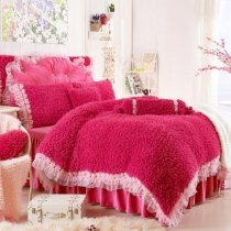 Girls Solid Rose Red Pink Lace Modern Chic Cute and Elegant Luxury Thick Flannel Twin, Full, Queen Size Bedding Sets