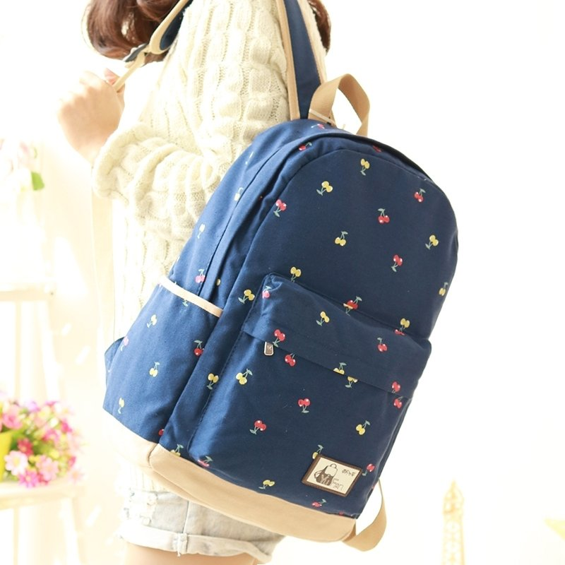 Durable Sapphire Blue Canvas Junior Preppy School Book Bag Stylish Vogue Fruit Cherry Print Girls Hiking Travel 14 Inch Laptop Backpack