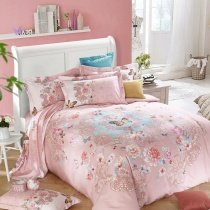 Girls Light Pink and Light Blue Flower and Butterfly Print Indian Pattern Asian Inspired 100% Brushed Cotton Full, Queen Size Bedding Sets