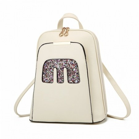 Water-proof Solid Beige Faux Leather Simply Chic Preppy School Book Bag Trend Sewing Pattern Women Casual Hiking Travel Backpack