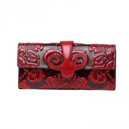 Personalized Red Cowhide Leather Lady Casual Party Evening Clutch Vintage Bohemian Western Floral Embossed Magnet Buckle Small Flap Wallet