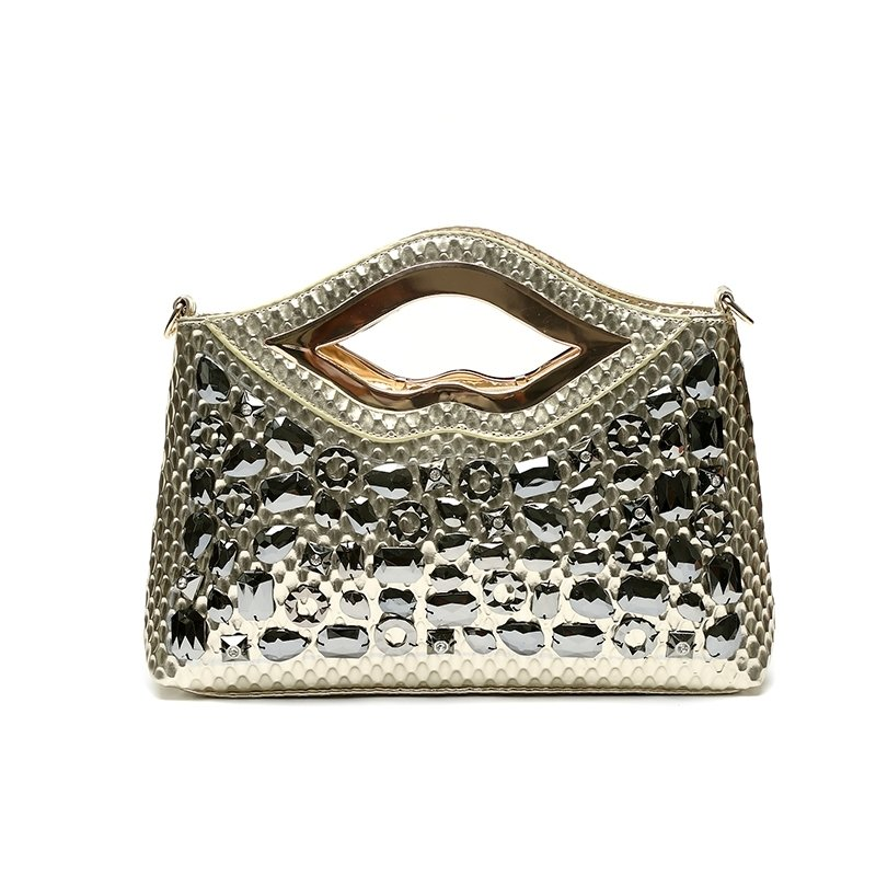 Trend Gold Patent Leather Rhinestone Studded Bridal Evening Party Clutch Gorgeous Embossed Snakeskin Women Crossbody Shoulder Tote Bag