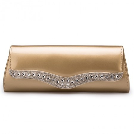 Vogue Champagne Gold Patent Leather Casual Party Evening Clutch Trend Rhinestone Studded Sewing Pattern Women Flap Crossbody Shoulder Bag
