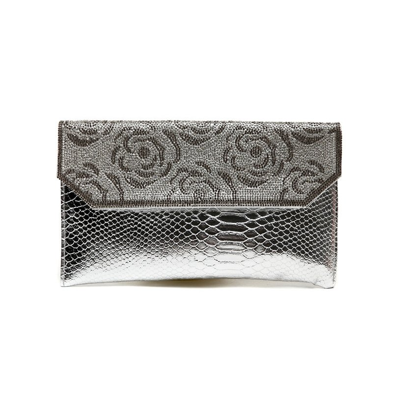 Silver Patent Leather Rhinestone Studded Lady Envelope Evening Clutch Vintage Rose Embossed Crocodile Small Flap Crossbody Shoulder Bag