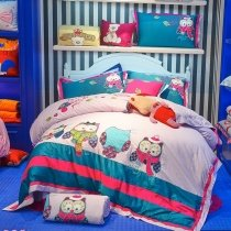 Dark Teal Red Turquoise and Pale Pink Retro Night Owl Pattern Jungle Animal Girly Themed 100% Cotton Twin, Full Size Bedding Sets for Kids