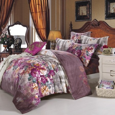 Purple White And Chocolate Brown Vintage Country Floral
