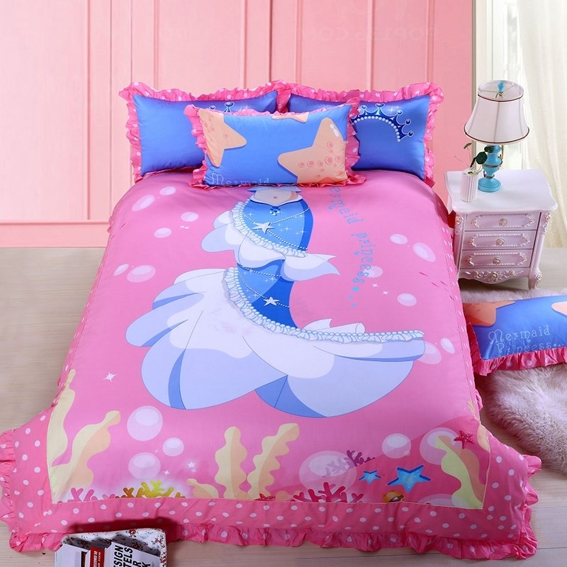 Hot Pink Ocean Blue and Light Blue Stylish Mermaid Print Princess Style Personalized 100% Cotton Twin, Full Size Bedding Sets for Girls