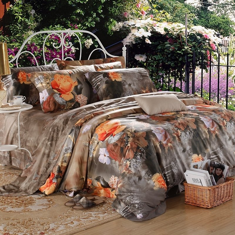 Brown Orange and Taupe Gray Vintage Flower Old World Style Earthy Themed Luxury Egyptian Cotton Full, Queen Size Bedding Sets