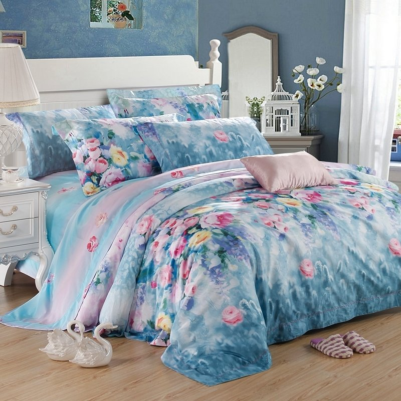 Royal blue Lavender Pink and White Luxury Egyptian Cotton Flower Print French Country Chic Full, Queen Size Bedding Sets