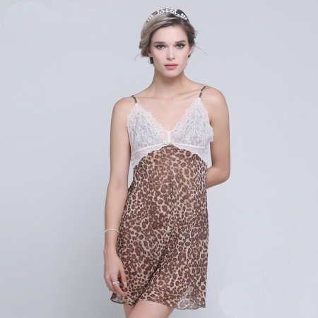 Brown Leopard Print One Piece French Rococo Pattern Nightdress Elegant Boutique Pajamas S M L