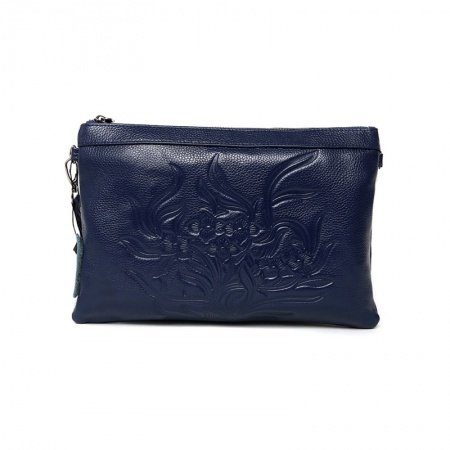 Gorgeous Sapphire Blue Genuine Cowhide Leather Lady Evening Party Clutch Wristlet Vintage Engraved Flower Crossbody Shoulder Bag