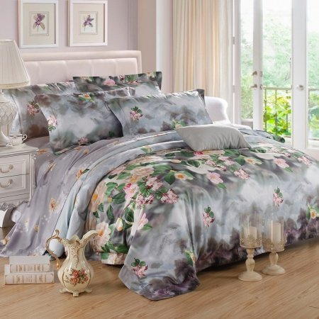Slate Gray Green and Pink Country Flower Rustic Lodge Wildlife Style Natural 100% Egyptian Cotton Full, Queen Size Bedding Sets