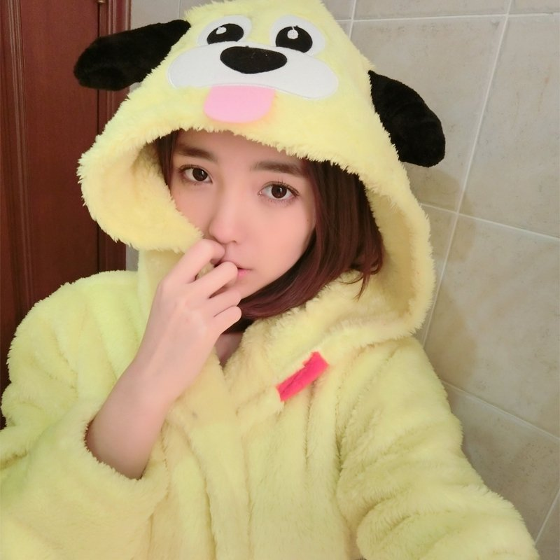 Yellow Dog Pattern Bathrobe Robe Cute Spa Hooded Flannel Pajamas for Girls M L