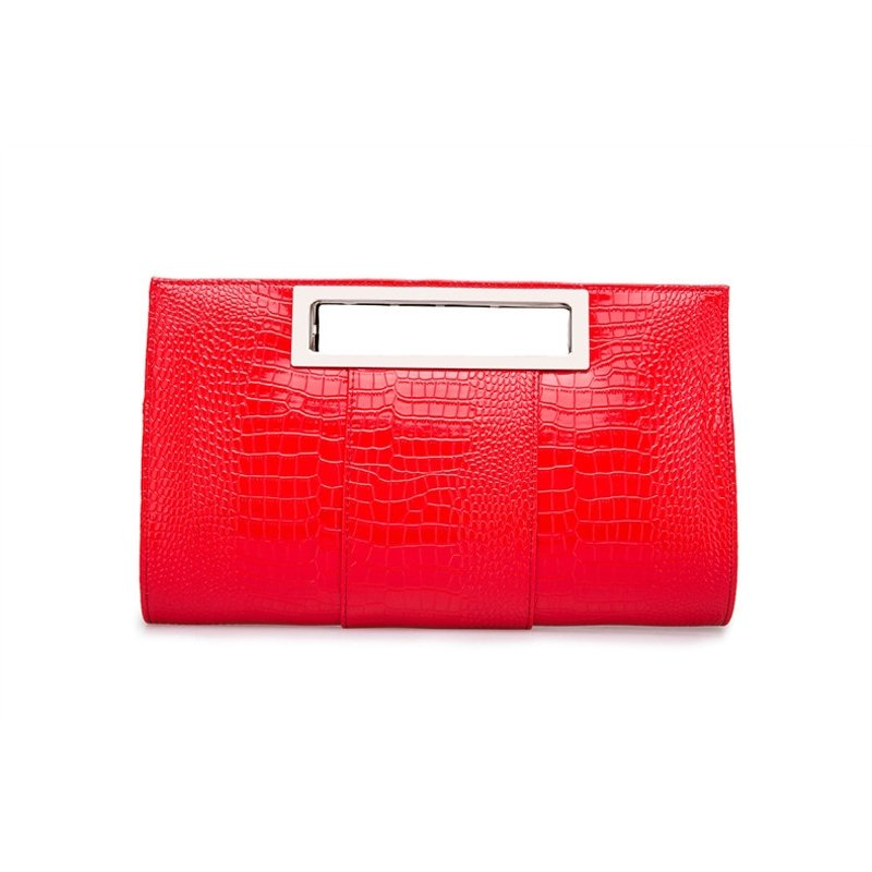 Personalized Embossed Crocodile Coral Red Patent Leather Evening Clutch Stylish Sewing Pattern Women Party Crossbody Shoulder Tote Bag